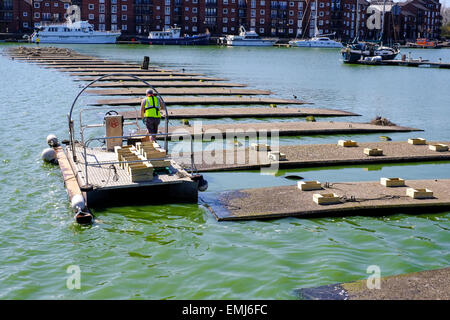 Preston, Lancashire:  Wooden Tern Trays are laid out in Preston Marina to encourage the Tern Colony to nest. - Stock Photo