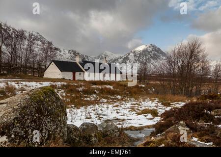 Winter snow Black Rock Cottage, Glencoe, Scotland UK - Stock Photo