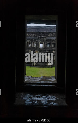 Angkor Wat  is a temple complex in Cambodia and the largest religious monument in the world. - Stock Photo