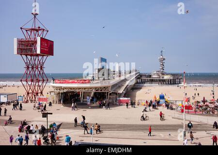Scheveningen pier and beach in the Hague, (Den Haag), Holland, Netherlands - Stock Photo