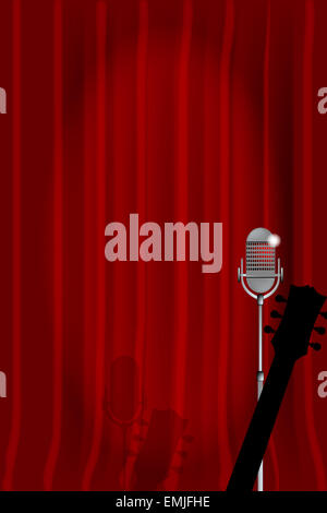 A microphone and acoustic guitar ready on stage against a red curtain. - Stock Photo
