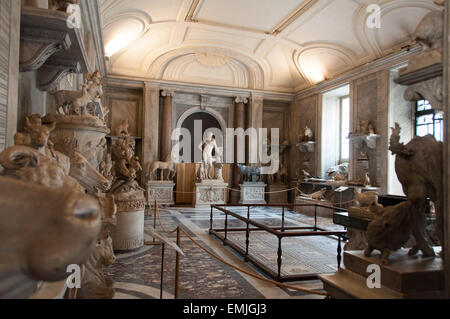 Sala degli Animali full with ancient artifacts and statues in the Vatican Museums, Vatican - Stock Photo