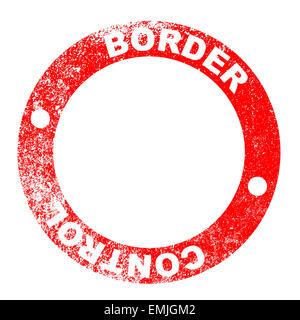 Border control red ink stamp over a white background - Stock Photo