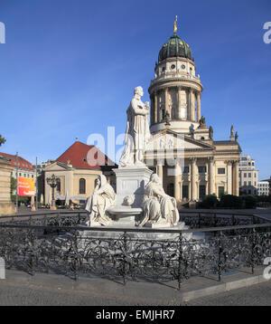 Germany Berlin Gendarmenmarkt French Cathedral Französischer Dom, Schiller Monument, - Stock Photo