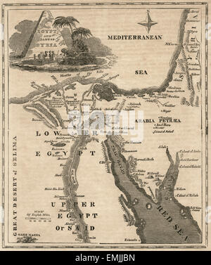 Egypt and Parts of Syria, Map, circa 1850 - Stock Photo