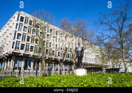 LONDON, UK - APRIL 14TH 2015: A statue of ex US President Ronald Reagan outside the US Embassy in Grosvenor Square - Stock Photo