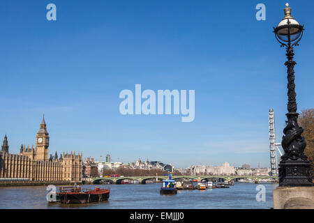 LONDON, UK - APRIL 14TH 2015: A view taking in the sights of the Houses of Parliament, Big Ben, Westminster Bridge, - Stock Photo