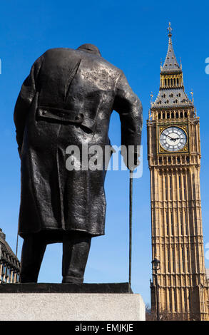 A statue of arguably Britain's most iconic Prime Minister Sir Winston Churchill, located on Parliament Square in - Stock Photo