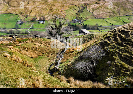 Looking down The Pennine Bridleway to Hazelgill in the Mallerstang area of the Eden Valley, Cumbria UK. - Stock Photo