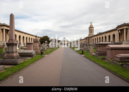 The Chapel and Colonnade, Brompton Cemetery, London - Stock Photo