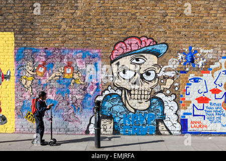 Street art in Hanbury Street Shoreditch in the London Borough of Tower Hamlets, an area renown for its paintings - Stock Photo