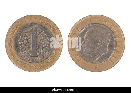 One Turkish lira coin isolated on white background. - Stock Photo