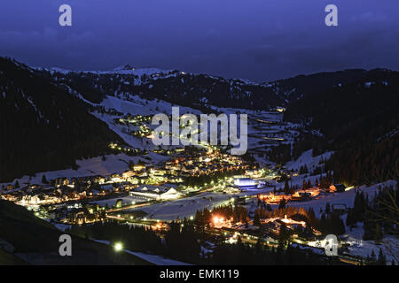 Corvara in Badia in a spring night landscape, Trentino Alto-Adige - Dolomiti, Italy - Stock Photo