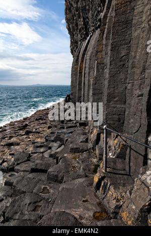 Path to Fingal's Cave on the isle of Staffa, Scotland - Stock Photo