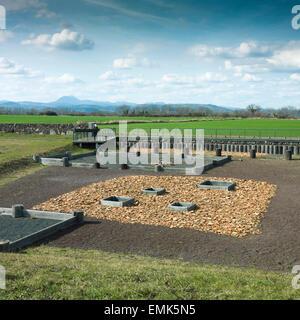 Gaul oppidum of Corent, archeological site, Puy de Dôme behind, Département of Puy de Dôme, France