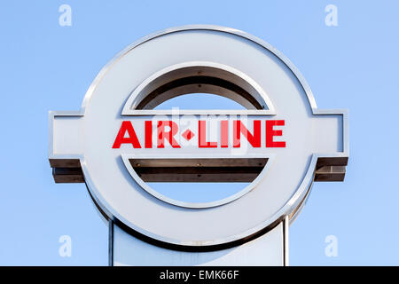 Sign of the Emirates Air Line cable car, London, England, United Kingdom - Stock Photo