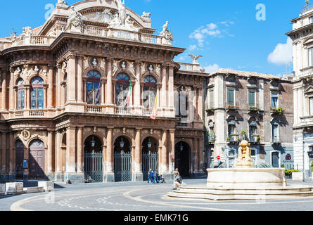 CATANIA, ITALY - APRIL 5, 2015: Theater Massimo Bellini on square Vincenzo Bellini in Catania, Sicily, Italy. Teatro - Stock Photo