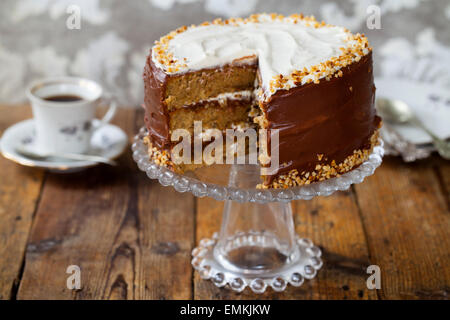 Coffee and hazelnut cake - Stock Photo