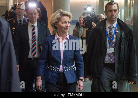 Berlin, Germany. 22nd Apr, 2015. German Minister of Defence Ursula von der Leyen arrives to the defence council - Stock Photo