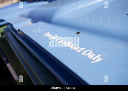 Paper and Car board recycling bin close up - Stock Photo