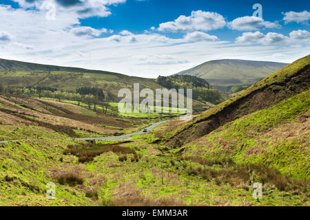UK, England, Lancashire, Trough of Bowland, road descending  from Grey Stone to Trough Barn - Stock Photo