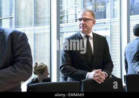 Berlin, Germany. 22nd Apr, 2015. Lufthansa CEO Carsten Spohr in the boardroom of the Transport Committee in the - Stock Photo