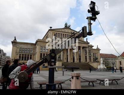 Berlin, Germany. 22nd Apr, 2015. The camera is prepared for the shooting of the Arabic TV series 'Memory of a Paper' - Stock Photo