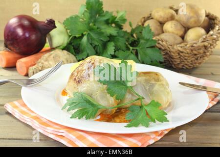 braised Stuffed cabbage on a checkered napkin - Stock Photo