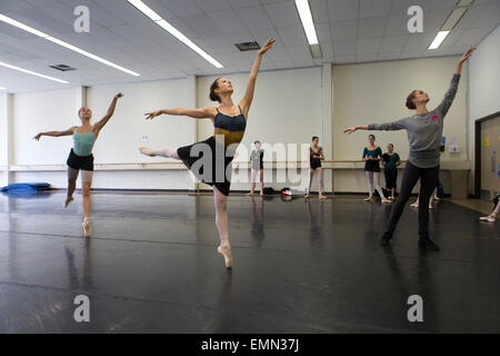 ballet dancers are training in Banff cultural center, Canada - Stock Photo