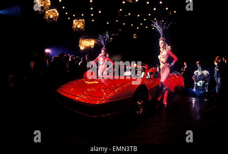 ferrari testarossa press launch at the lido night club in paris stock photo royalty free image. Black Bedroom Furniture Sets. Home Design Ideas