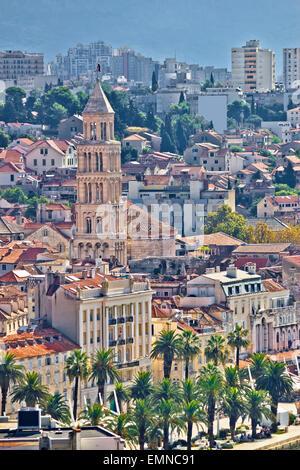 Old Split city center vertical view, Dalmatia, Croatia - Stock Photo