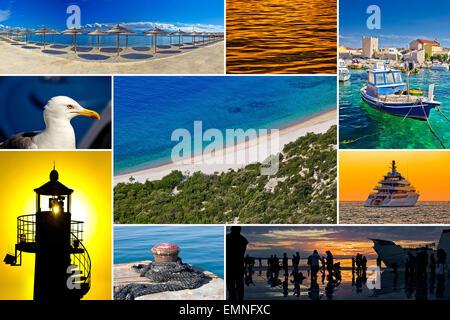 Mediterranean coast collage (yacht, sea gull, ocean, beach etc.) - Stock Photo