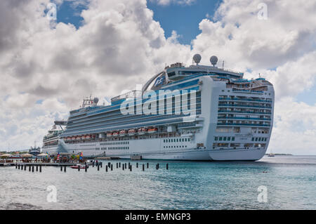 International Cruise Ship Emerald Princess anchored at Kralendijk the capital and larges city of the island Bonaire - Stock Photo