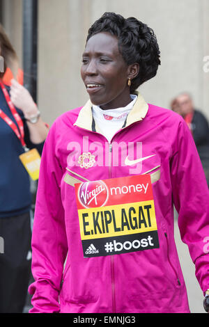 London, UK. 22 April 2015. Pictured: Edna Kiplagat (KEN). Photocall with the Elite Women runners ahead of the Virgin - Stock Photo