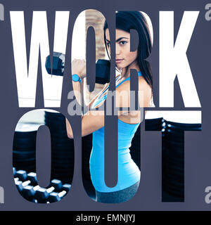 Conceptual collage of sports photo in the form of the word workout - Stock Photo