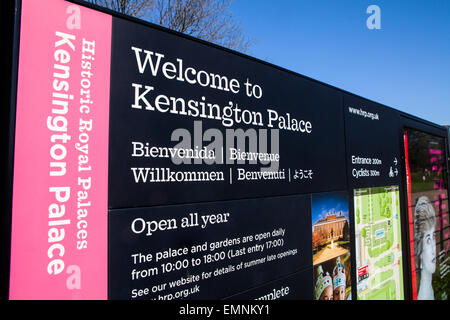 LONDON, UK - APRIL 15TH 2015: A Welcome Sign for the historical Kensington Palace in London on 15th April 2015. - Stock Photo