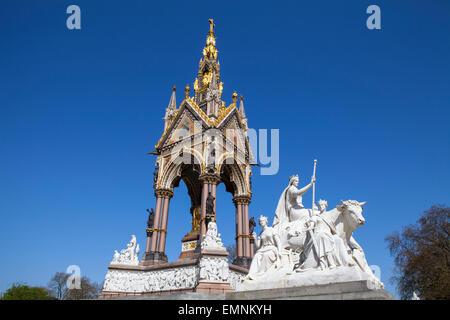 A view of the magnificent Albert Memorial in Kensington Gardens, London. - Stock Photo