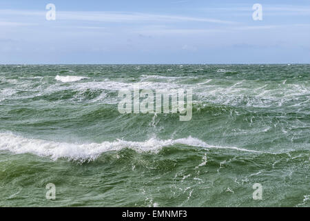 Image of the surface of the water and waves of the Baltic Sea on a stormy day - Stock Photo