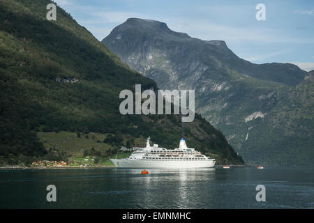 Cruise ship Discovery in Gerainger fjord Norway - Stock Photo