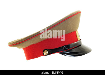 Old service cap of a soviet officer isolated on white background - Stock Photo