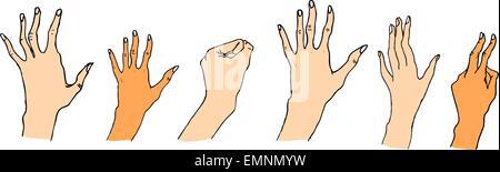 Hands. Hand-drawn illustration - Stock Photo