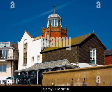 Exterior view of Lyme Regis Museum containing a collection of fossils found on the Jurassic Coast in West Dorset - Stock Photo