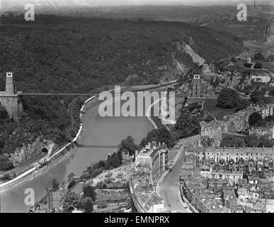 Aerial view of of Clifton Suspension Bridge. - Stock Photo