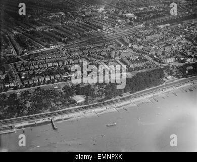 Aerial view of Southend-on-Sea. Circa 1929. - Stock Photo