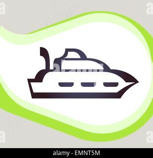 Ship. Retro-style emblem, icon, pictogram - Stock Photo