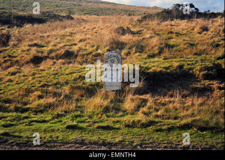 A historic milestone near Penybont on the road between Penybont and Knighton in Wales by the England border. - Stock Photo
