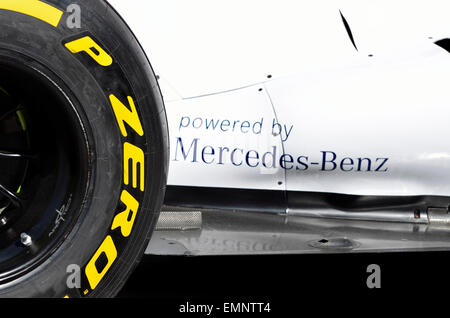 2014 Williams Formula One car - Pirelli P Zero tyre and 'Powered by Mercedes-Benz' - Stock Photo
