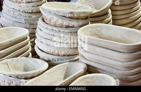 Proving baskets used in a bakery for holding bread dough as it rises and so shaping the loaf - Stock Photo