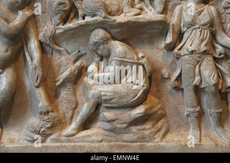 Marble sarcophagus with the myth of Endymion. Roman. Antonine period, 2nd c.AD. Detail of Endymion, a beautiful - Stock Photo