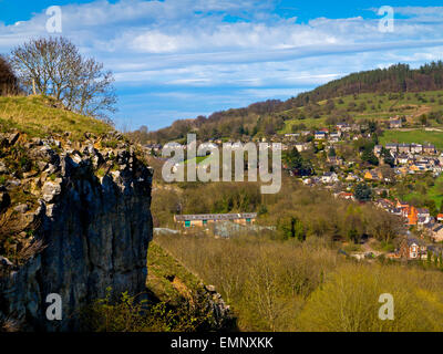 A view from Stoney Wood towards Wirksworth a market town in Derbyshire Dales Peak District England UK - Stock Photo